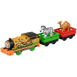 Locomotiva Percy cu 2 vagoane Animal Party, Trackmaster, Fisher Price, FXX56