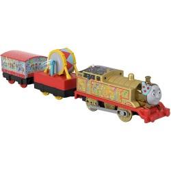 Locomotiva Aurita Thomas cu 2 vagoane, Thomas Trackmaster, Fisher Price, GHK79