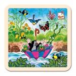 Puzzle pentru bebelusi, Cartita pe apa, lemn, 4 elemente, Bino, 13722