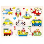 Puzzle vehicule, Trafico, lemn, 10 piese, Bino, 88115