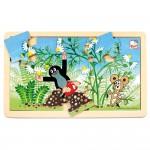 Puzzle cartita si flori, lemn, 15 piese, Bino, 13801